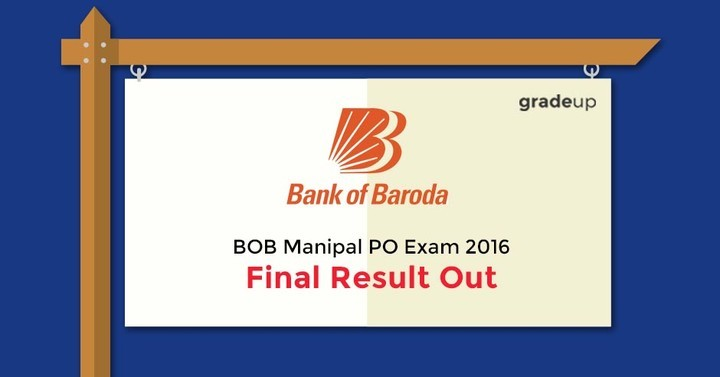 BOB Manipal PO Exam 2016 - Final Result Out