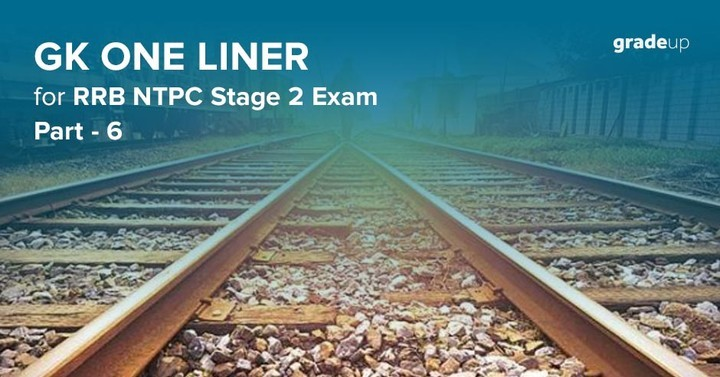 GK One Liner for RRB NTPC Stage 2 Exam- Part 6
