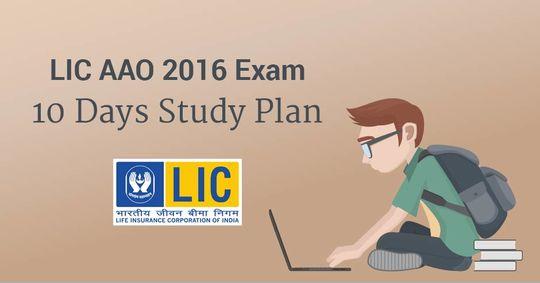 LIC AAO 2016 Exam: 10 Days Study Plan