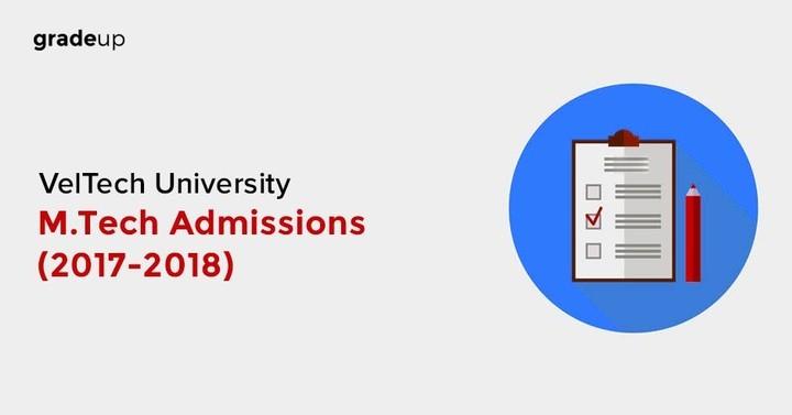 VelTech University M.Tech Admissions (2017-2018) on