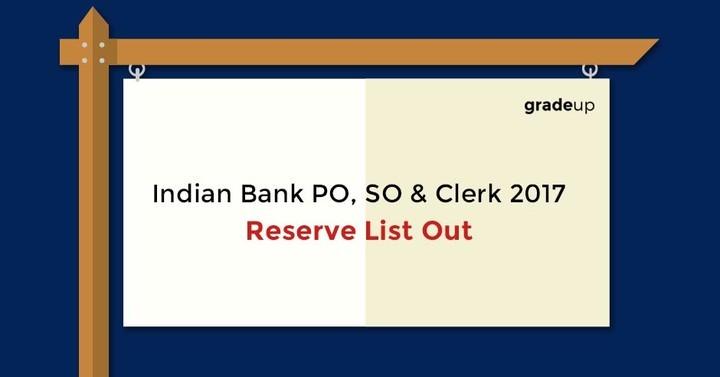 इंडियन बैंक पीओ मुख्य परीक्षा परिणाम 2016-17 जारी कर दिया है  यहाँ देखें!