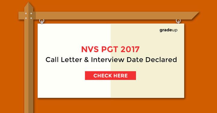 एनवीएस पीजीटी 2017 साक्षात्कार पत्र और तारीख घोषित!