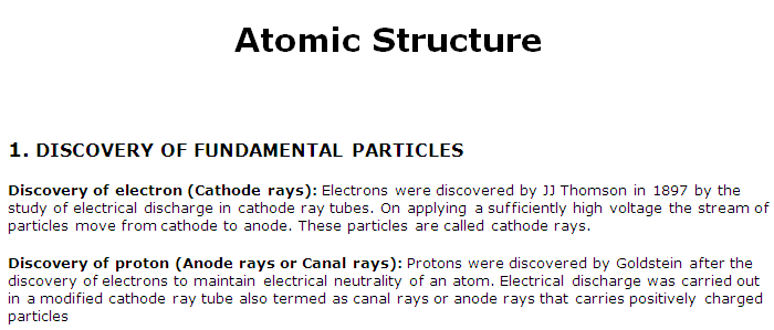 JEE 2020 Study Notes: Atomic Structure
