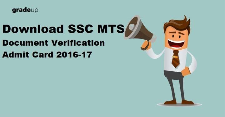 Download SSC MTS Document Verification Admit Card 2016-17