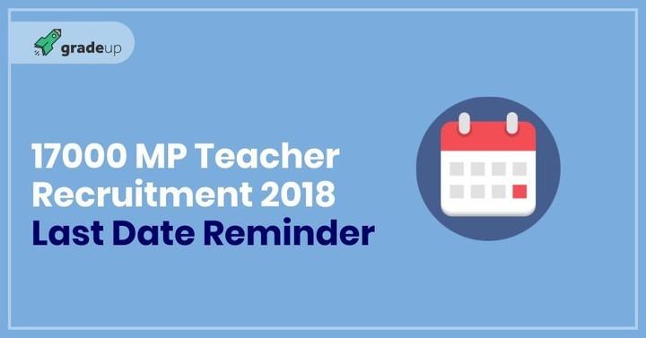 17000 MP Teacher Recruitment 2018: Last Date Reminder