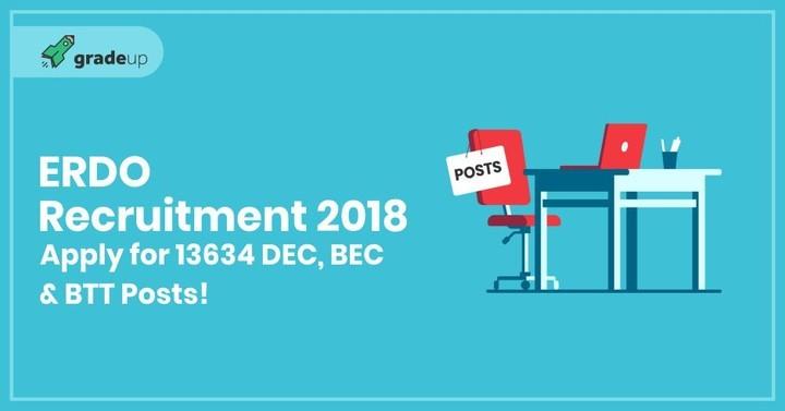 ERDO Recruitment 2018: Apply for 13634 ERDO Bihar BTT/DEO/BEO Vacancies!