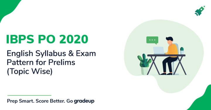 IBPS PO English Syllabus & Exam Pattern 2020 for Prelims (Topic Wise)
