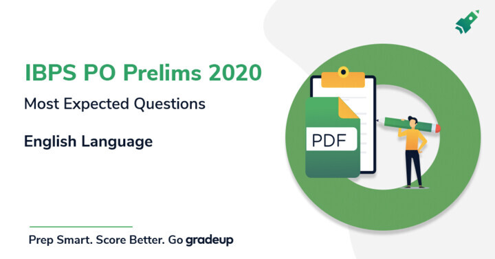 English Language Most Expected Questions for IBPS PO Prelims 2020, Download PDF